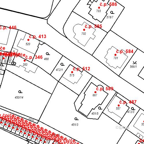 Katastrální mapa Stavební objekt Luhačovice 512, Luhačovice