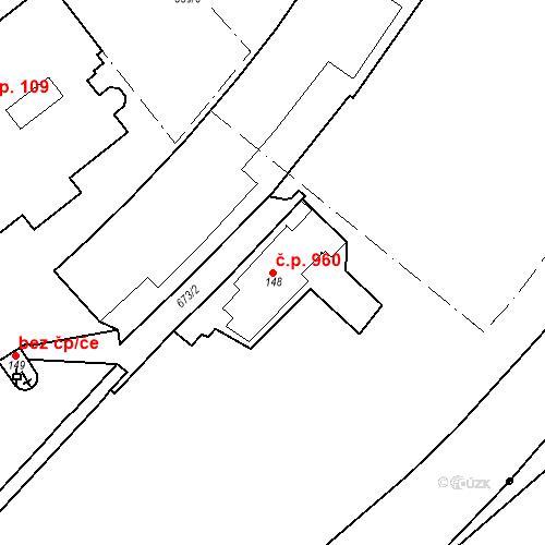 Katastrální mapa Stavební objekt Luhačovice 960, Luhačovice