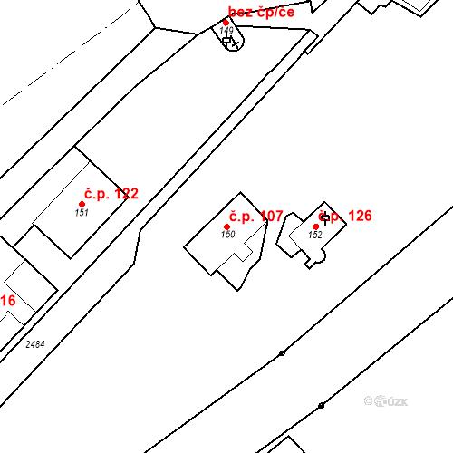 Katastrální mapa Stavební objekt Luhačovice 107, Luhačovice