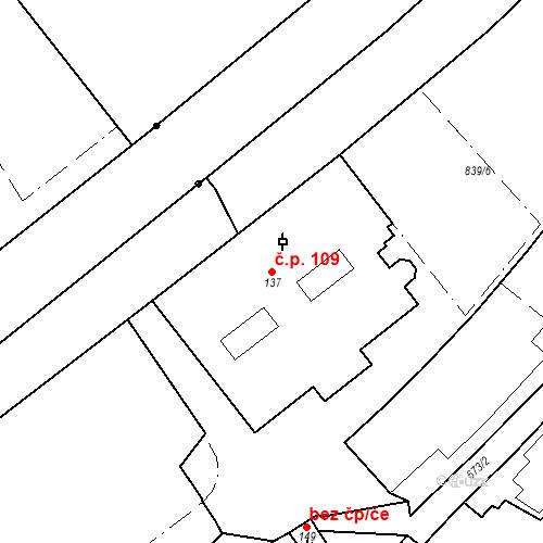 Katastrální mapa Stavební objekt Luhačovice 109, Luhačovice