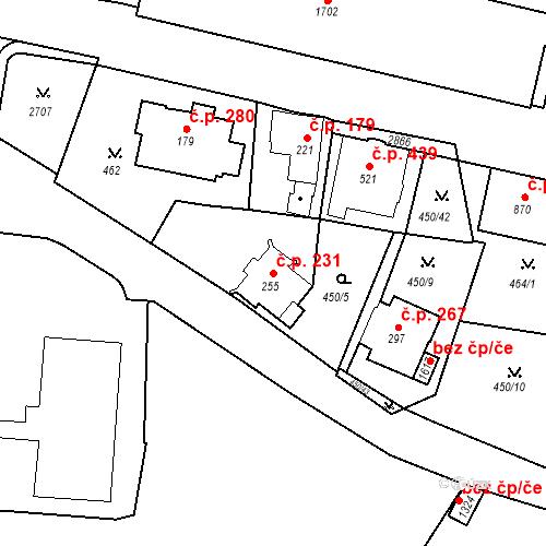 Katastrální mapa Stavební objekt Luhačovice 231, Luhačovice