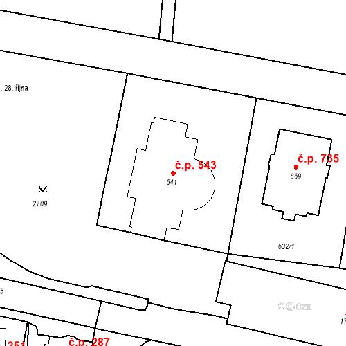 Katastrální mapa Stavební objekt Luhačovice 543, Luhačovice