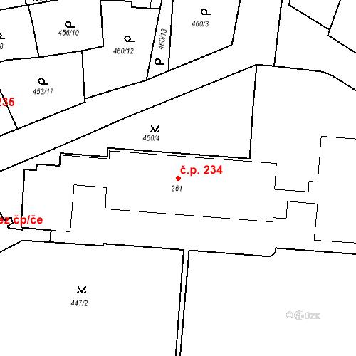Katastrální mapa Stavební objekt Luhačovice 234, Luhačovice