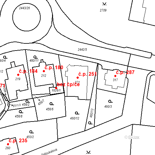 Katastrální mapa Stavební objekt Luhačovice 251, Luhačovice