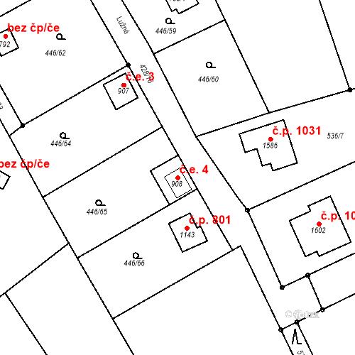 Katastrální mapa Stavební objekt Luhačovice 4, Luhačovice