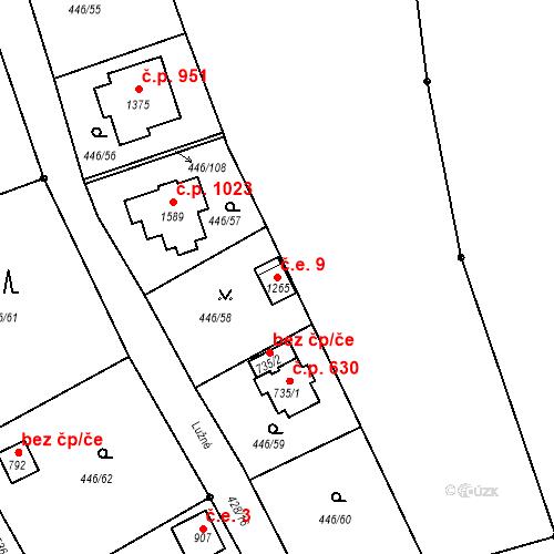 Katastrální mapa Stavební objekt Luhačovice 9, Luhačovice