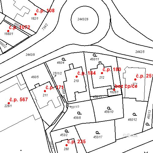 Katastrální mapa Stavební objekt Luhačovice 184, Luhačovice