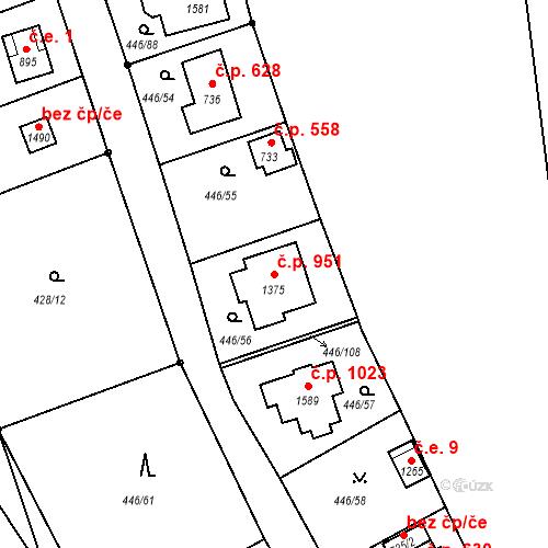 Katastrální mapa Stavební objekt Luhačovice 951, Luhačovice