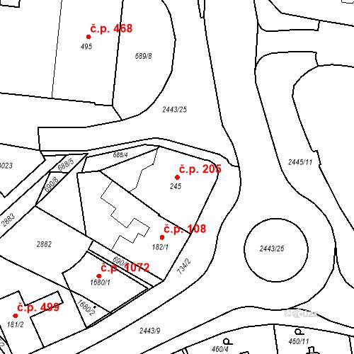 Katastrální mapa Stavební objekt Luhačovice 205, Luhačovice