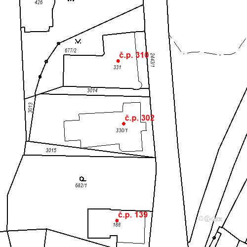 Katastrální mapa Stavební objekt Luhačovice 302, Luhačovice