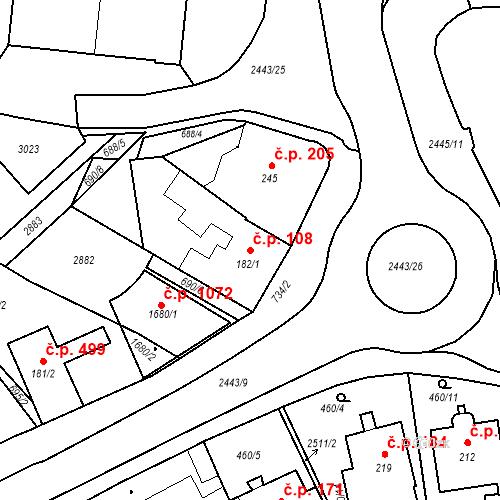 Katastrální mapa Stavební objekt Luhačovice 108, Luhačovice