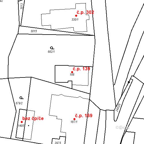 Katastrální mapa Stavební objekt Luhačovice 139, Luhačovice