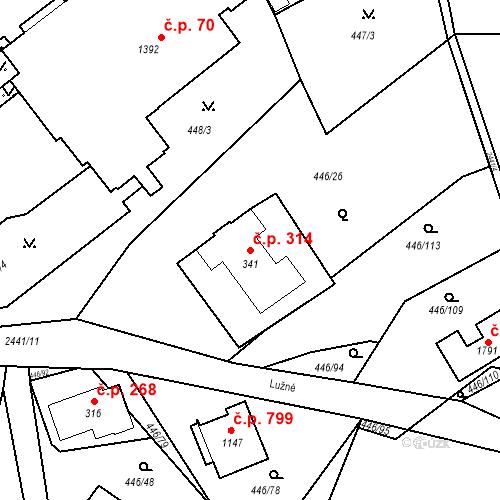 Katastrální mapa Stavební objekt Luhačovice 314, Luhačovice