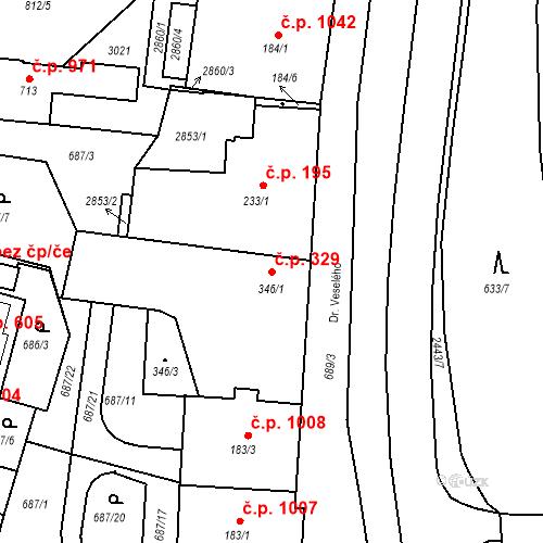 Katastrální mapa Stavební objekt Luhačovice 329, Luhačovice