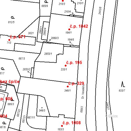 Katastrální mapa Stavební objekt Luhačovice 195, Luhačovice