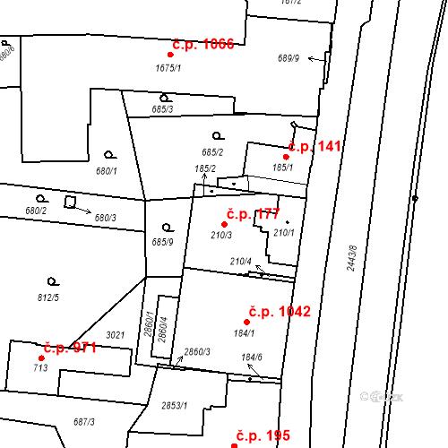 Katastrální mapa Stavební objekt Luhačovice 177, Luhačovice