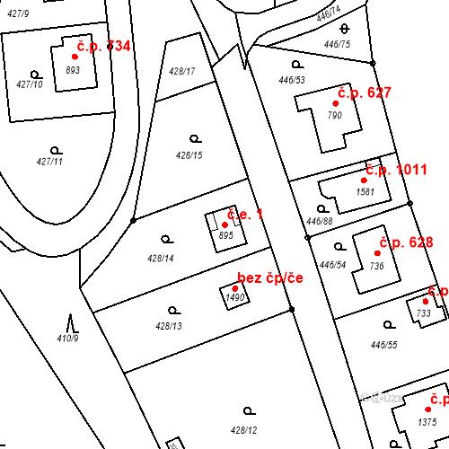 Katastrální mapa Stavební objekt Luhačovice 1, Luhačovice