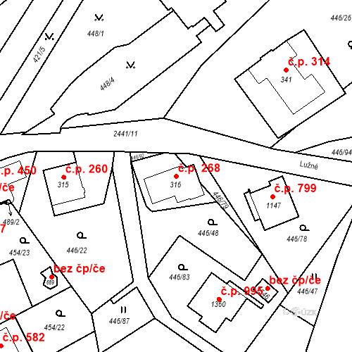 Katastrální mapa Stavební objekt Luhačovice 268, Luhačovice