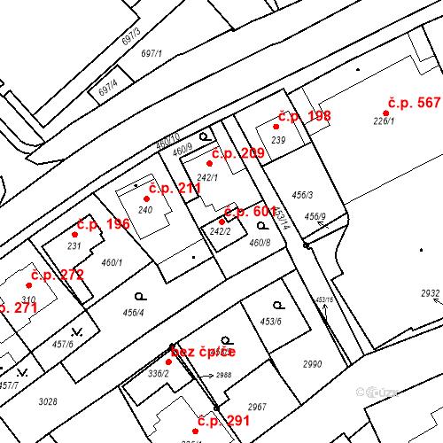 Katastrální mapa Stavební objekt Luhačovice 601, Luhačovice