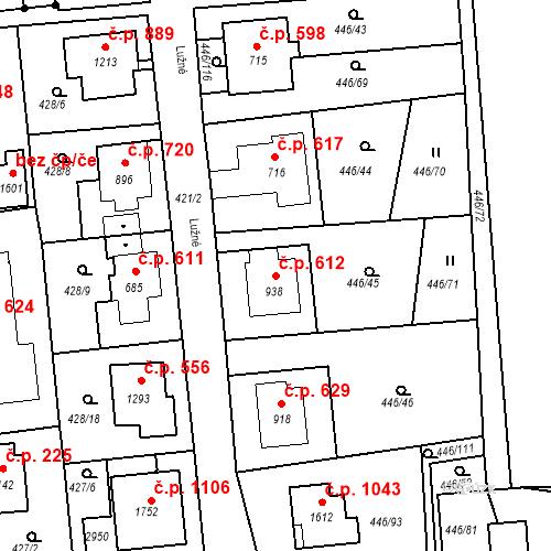 Katastrální mapa Stavební objekt Luhačovice 612, Luhačovice