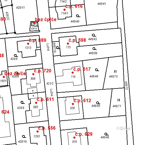 Katastrální mapa Stavební objekt Luhačovice 617, Luhačovice