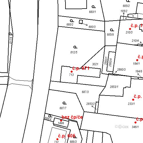 Katastrální mapa Stavební objekt Luhačovice 971, Luhačovice