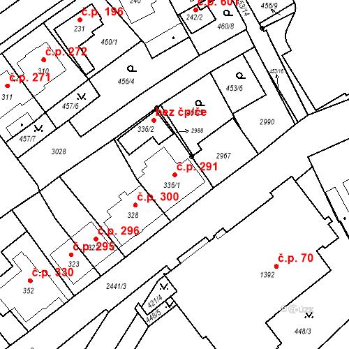 Katastrální mapa Stavební objekt Luhačovice 291, Luhačovice