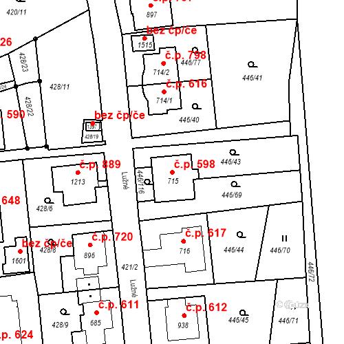 Katastrální mapa Stavební objekt Luhačovice 598, Luhačovice