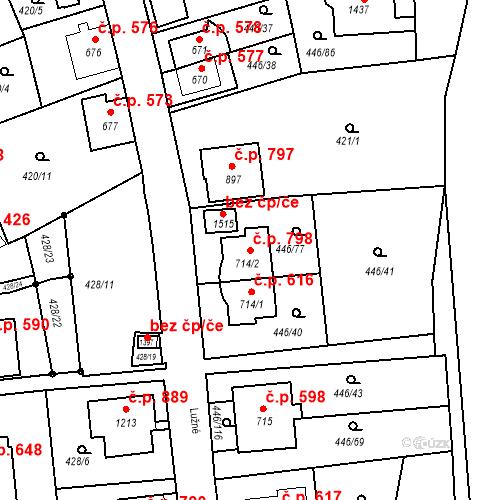 Katastrální mapa Stavební objekt Luhačovice 798, Luhačovice