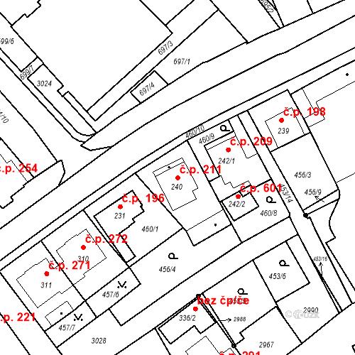 Katastrální mapa Stavební objekt Luhačovice 211, Luhačovice