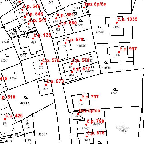 Katastrální mapa Stavební objekt Luhačovice 577, Luhačovice