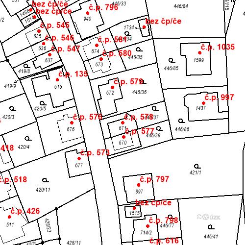 Katastrální mapa Stavební objekt Luhačovice 578, Luhačovice