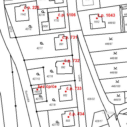 Katastrální mapa Stavební objekt Luhačovice 732, Luhačovice
