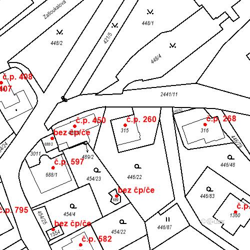 Katastrální mapa Stavební objekt Luhačovice 260, Luhačovice