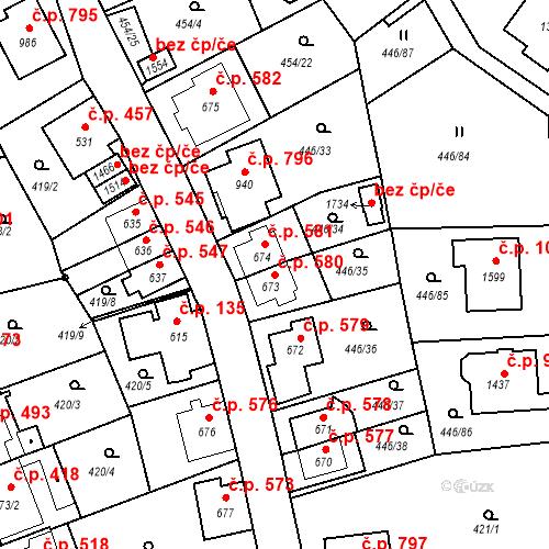 Katastrální mapa Stavební objekt Luhačovice 580, Luhačovice