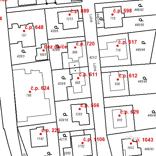 Katastrální mapa Stavební objekt Luhačovice 611, Luhačovice