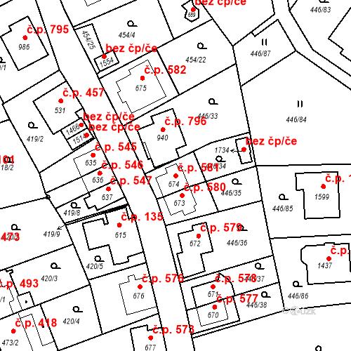 Katastrální mapa Stavební objekt Luhačovice 581, Luhačovice