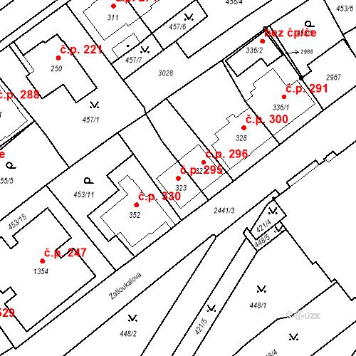 Katastrální mapa Stavební objekt Luhačovice 295, Luhačovice