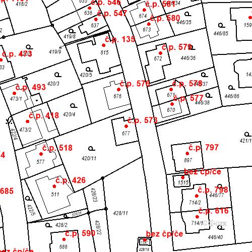 Katastrální mapa Stavební objekt Luhačovice 573, Luhačovice