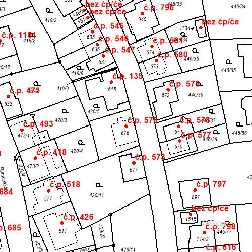 Katastrální mapa Stavební objekt Luhačovice 576, Luhačovice
