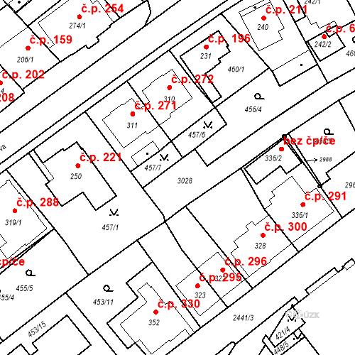 Katastrální mapa Stavební objekt Luhačovice 602, Luhačovice