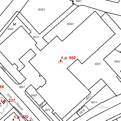 Katastrální mapa Stavební objekt Luhačovice 950, Luhačovice