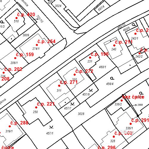 Katastrální mapa Stavební objekt Luhačovice 272, Luhačovice