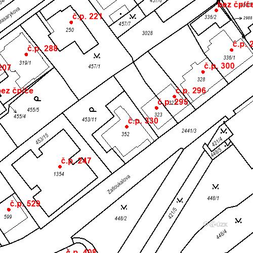 Katastrální mapa Stavební objekt Luhačovice 330, Luhačovice