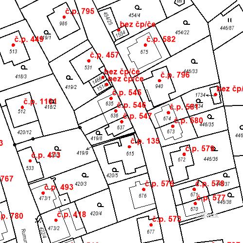 Katastrální mapa Stavební objekt Luhačovice 547, Luhačovice