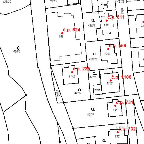Katastrální mapa Stavební objekt Luhačovice 225, Luhačovice