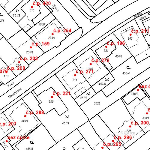 Katastrální mapa Stavební objekt Luhačovice 271, Luhačovice
