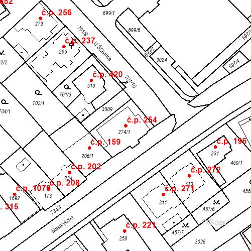 Katastrální mapa Stavební objekt Luhačovice 254, Luhačovice