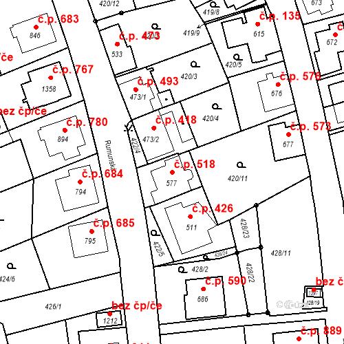 Katastrální mapa Stavební objekt Luhačovice 518, Luhačovice