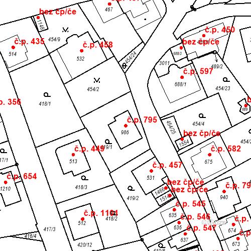 Katastrální mapa Stavební objekt Luhačovice 795, Luhačovice
